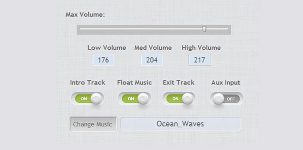 There are four volume settings (high, medium, low, and mute) that are fully customizable. Below the volume settings are four switches for turning on and off the audio settings.