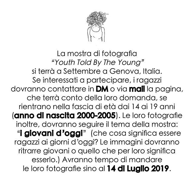 Are you interested in participating? You can still contact us. What does it mean to be young today for you?  Sei interessata/o a partecipare? Le adesioni sono ancora aperte. Che cosa significa per te essere giovane ai giorni d'oggi?  follow us for more: @youthtoldbytheyoung for more info and rules look at the link in bio  #youthtoldbytheyoung #youth #young #youngpeopletoday #exhibition #photography #photographyexhibition #photograph #photographsbyyoungpeople  #stories #submit #application #ideas #inspired #interested #participating #contactus #giovinezza #gioventu #giovani #ragazzidivita #ragazzini #giovanidoggi #mostra #mostradifotografie #mostradifotografia #fotografia #storie #presentare #iscrizione