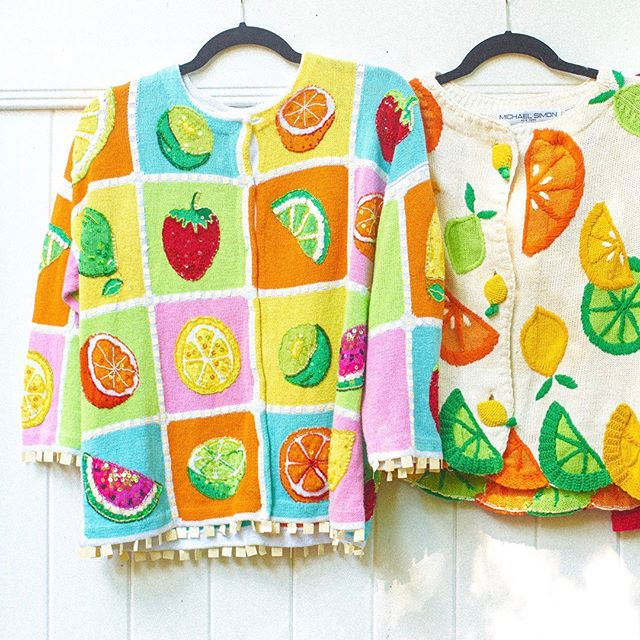 fruity sweaters for chilly summer nights ~ all of these sweaters are available for purchase, DM for more details 🍓🍋🍇🍐🍊 ** second sweater sold **