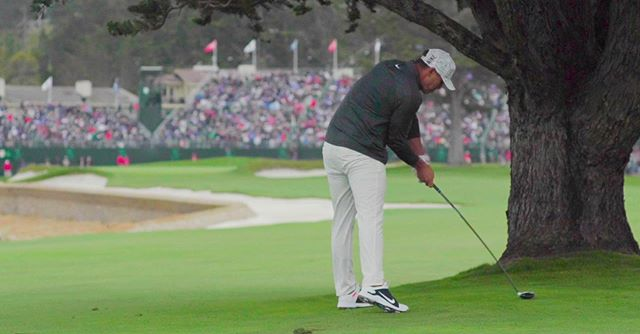 Brooks trying to pull off heroics from under the tree on 18. Crazy to think that this guys was just a few lipped out putts or a bad bounce away from winning 3 in a row.