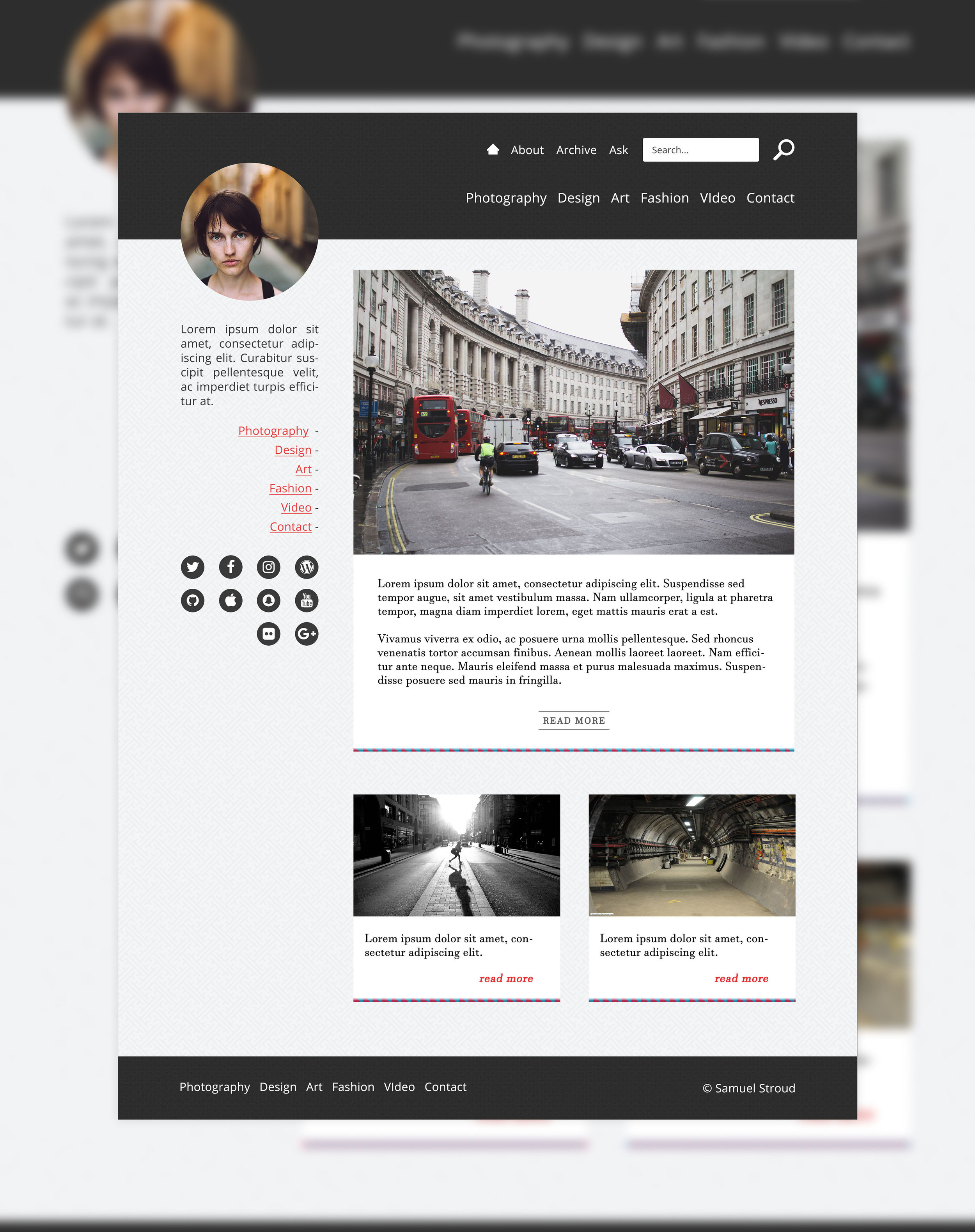 Example of repetition. This is a blog concept I designed a while ago. Notice the repetition of the posts, as well as the cohesive colour scheme and fonts. Designed by  Samuel J. Stroud .
