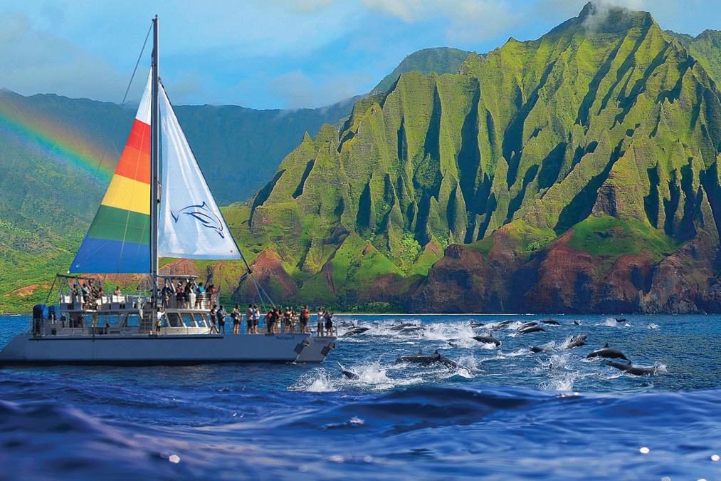 SAILING - Enjoy a Kauai sunset sail or cruise along the spectacular Na Pali Coast or the island's south shore. Either one of these destinations offers fantastic photo opportunities. The Na Pali Coast on Kauai's north shore is completely undeveloped. Since no road leads here, the only way to see the stunning sea cliffs and isolated beaches is via helicopter or boat.Holo Holo ChartersBlue Dolphin Charters