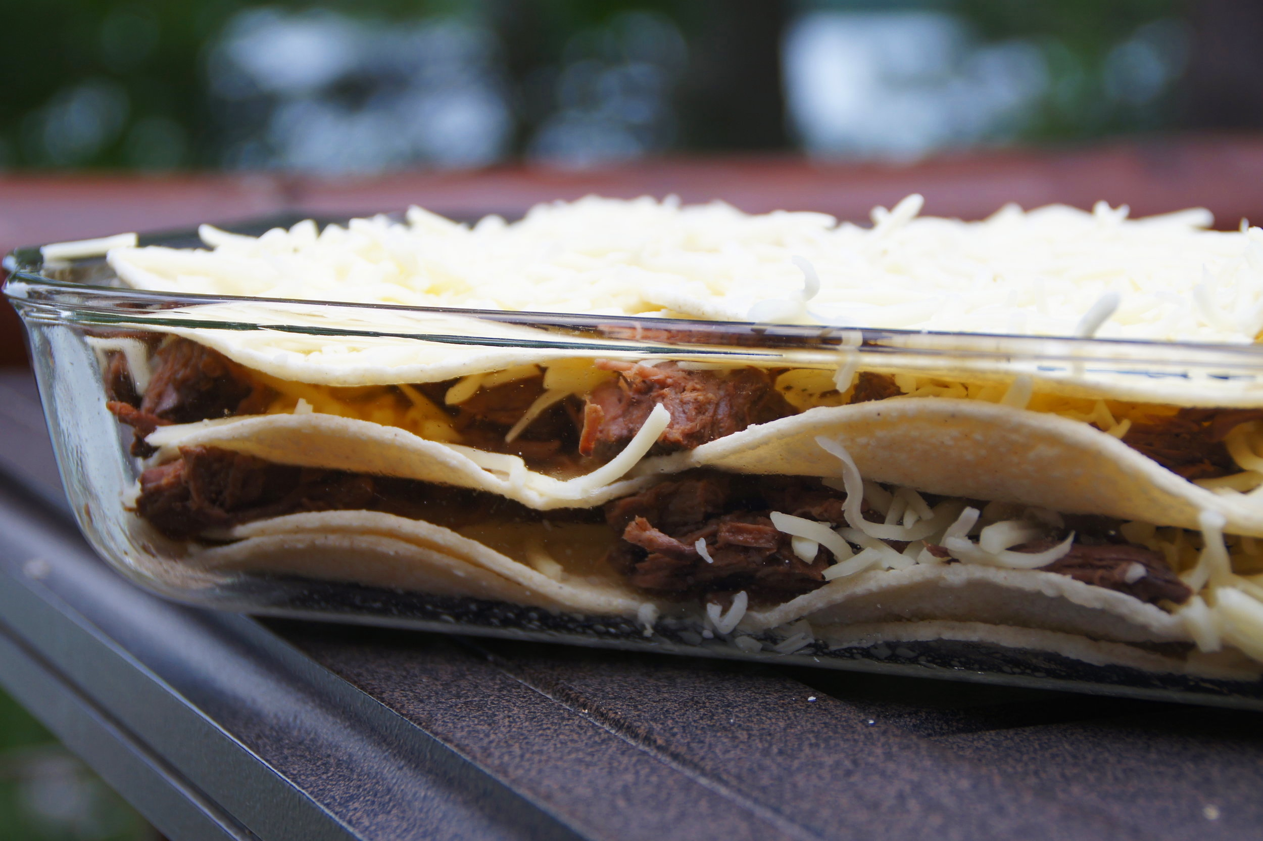 Stacked Enchiladas  featuring the Crock-Pot Shredded Beef.