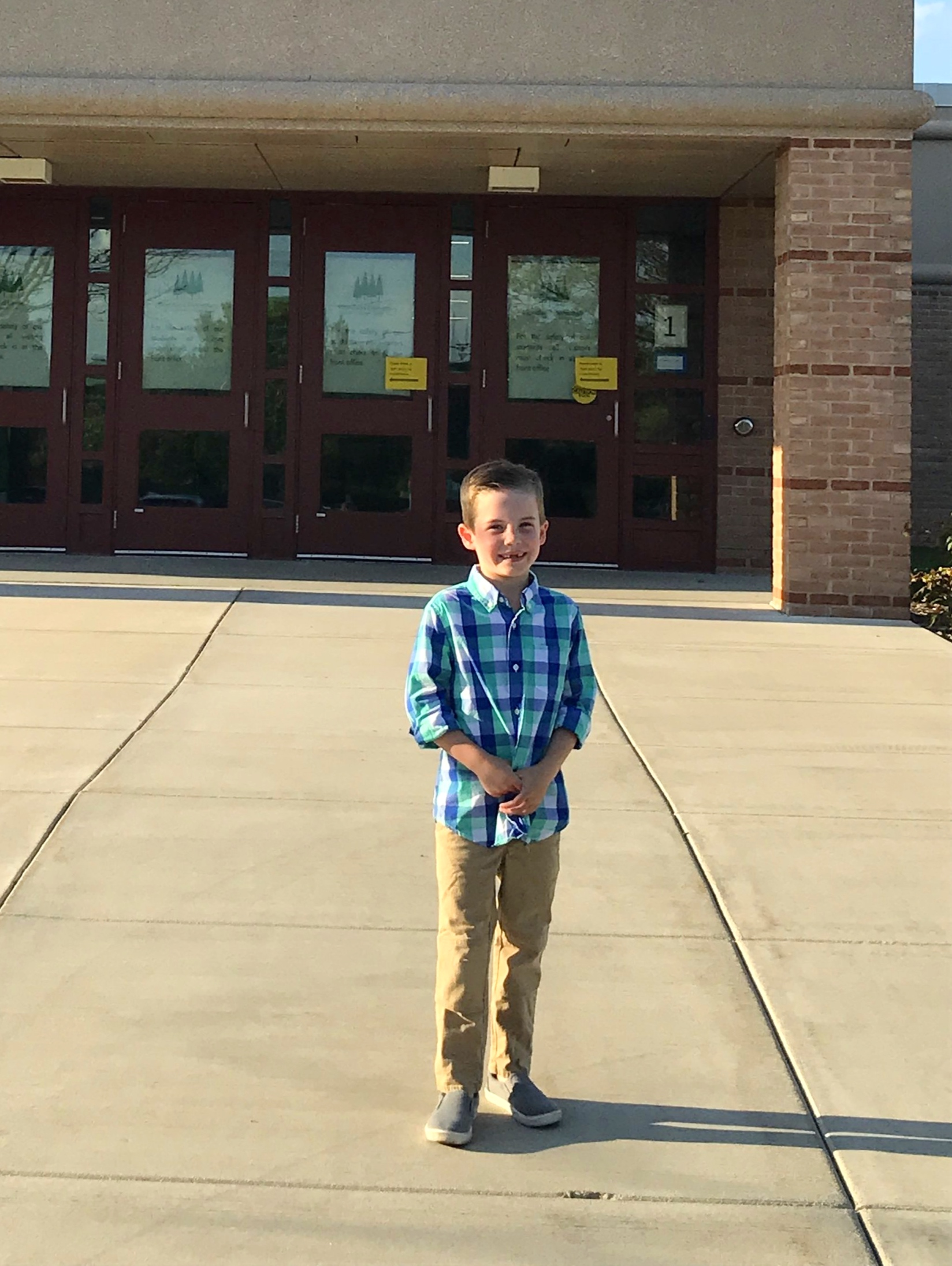 My big kindergartener on Orientation and Picture Night!