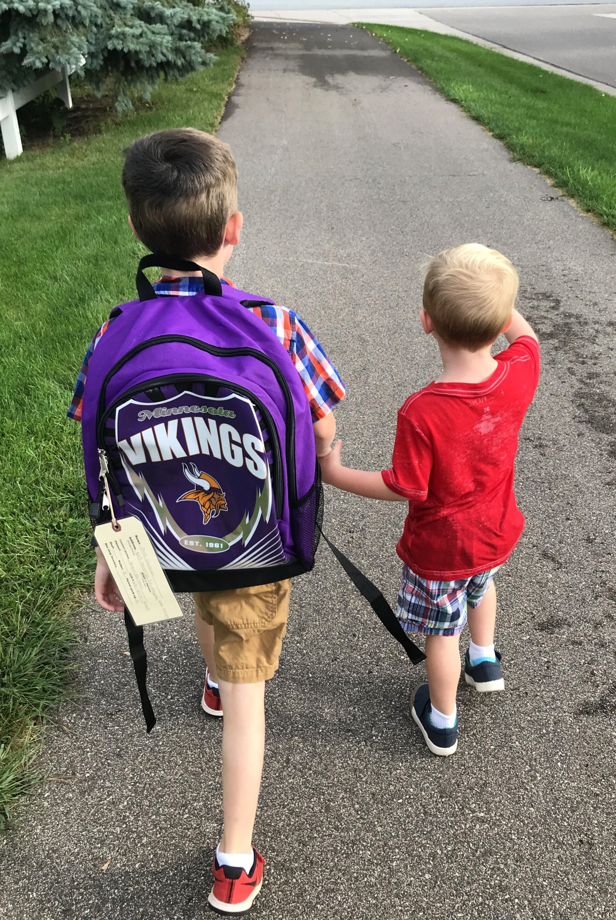 Walking Jack to school in the morning.