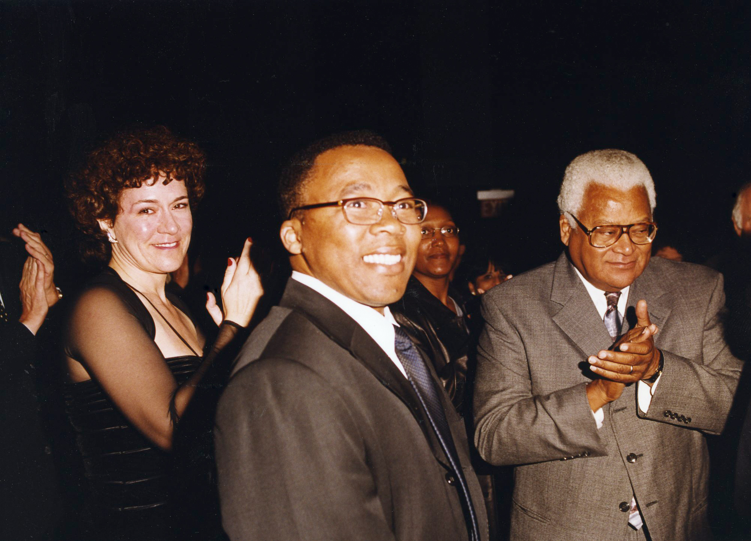 At the     A Force More Powerful     premiere in 2000 with civil resistance leaders, Mkhuseli Jack, and Rev. James Lawson.