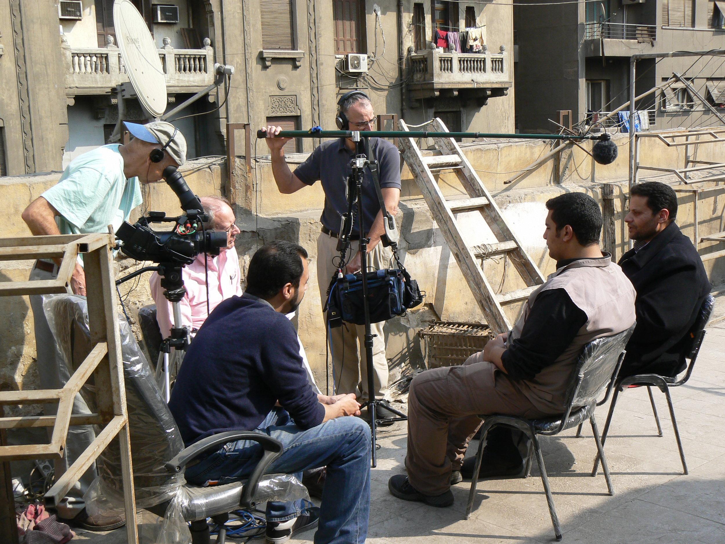 Peter Pearce (camera), Steve York & Paul Rusnak (sound) on location for Egypt:Revolution Interrupted?