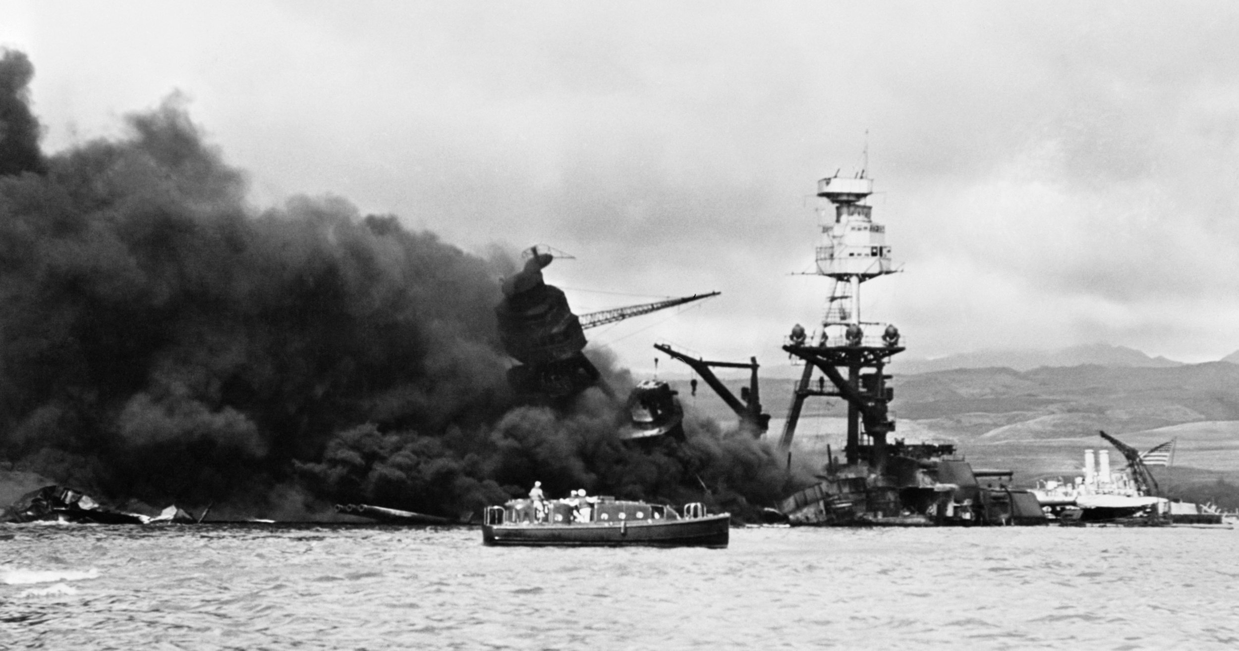 Attack on the USS Arizona, Pearl Harbor, December 7, 1941.