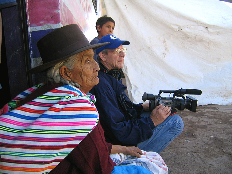 On location in Peru for Confronting the Truth, 2002.