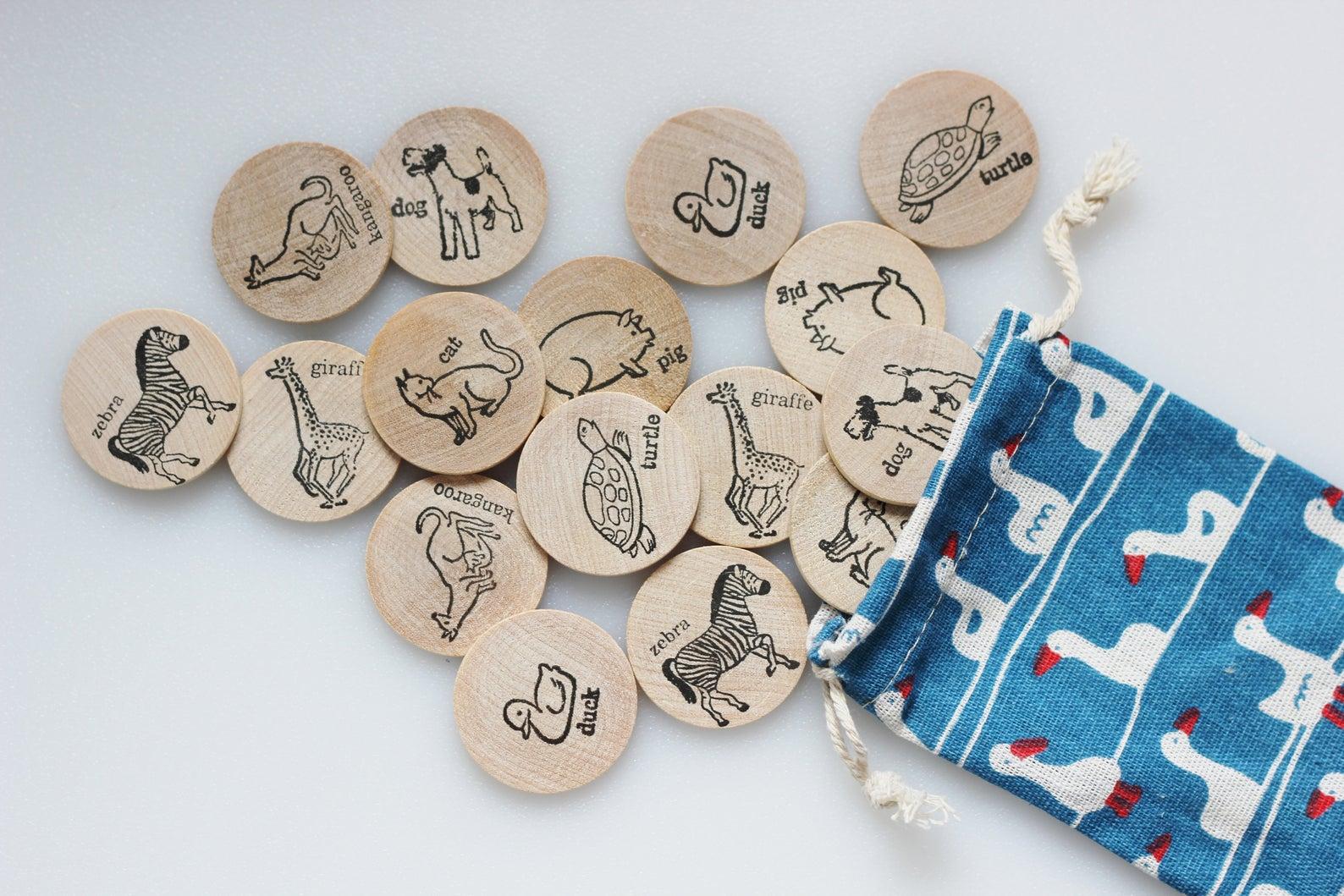 wooden animal memory game