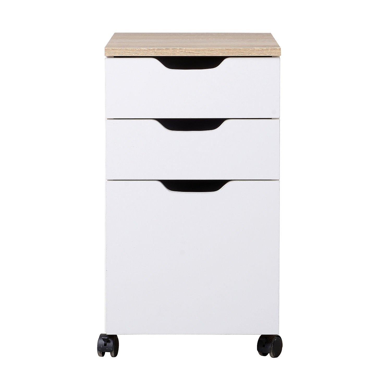modern white and wood three drawer cart