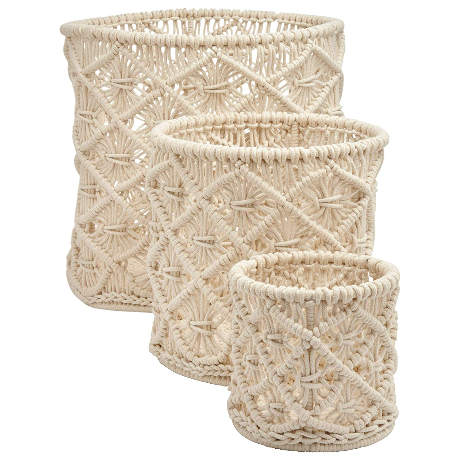 macrame storage totes in modern offwhite