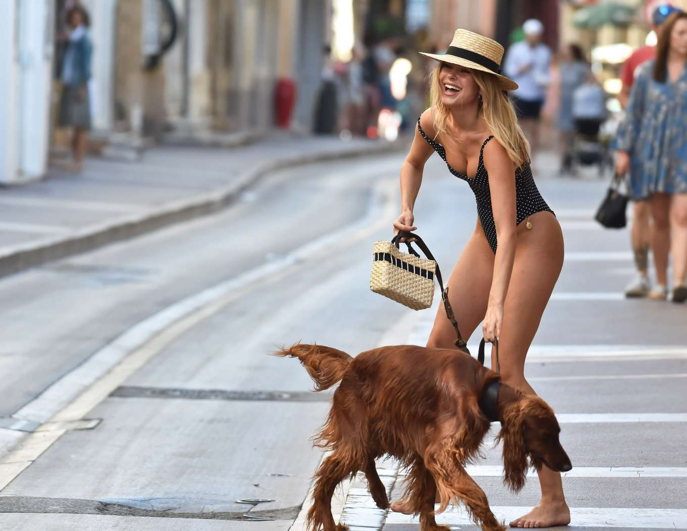 Kimberley Garner in Swimsuit on the Streets of St. Tropez August 2019