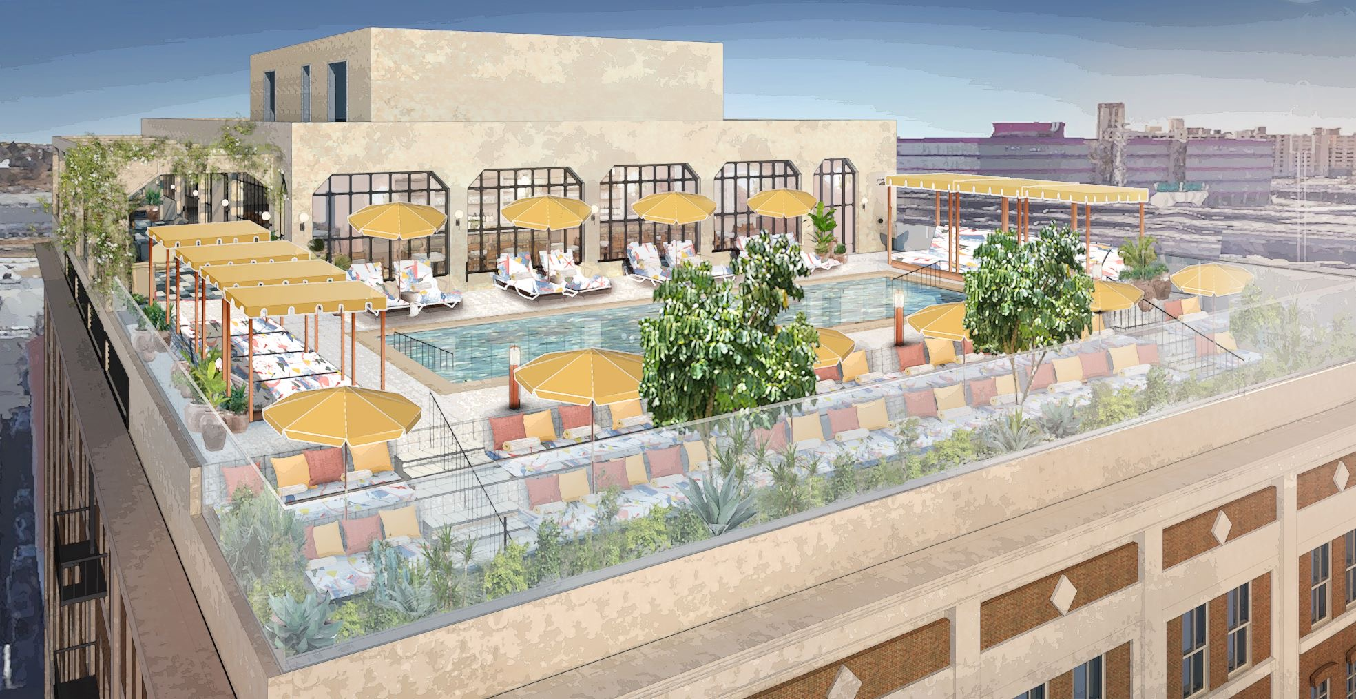 Render of the SOHO House downtown rooftop with our custom printed day beds