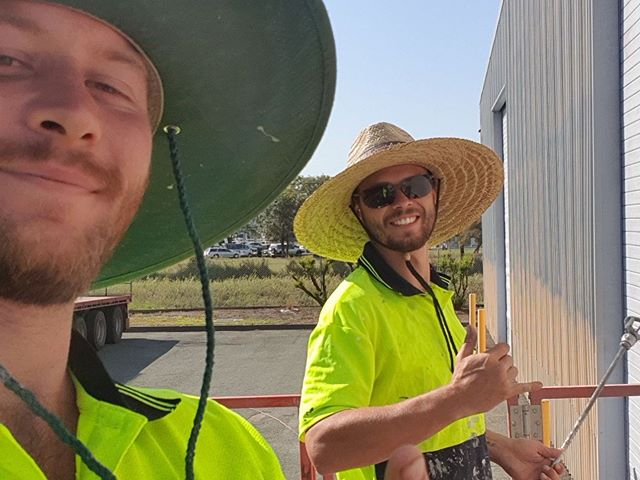 Meet Matt and Josh our two newest team members! ☀️ Out there getting stuck in on a Friday, all smiles! #team #painting #brisbane #goldcoast #brisbanepainters #goldcoastpainters #repaint #mccarthycoatings #business