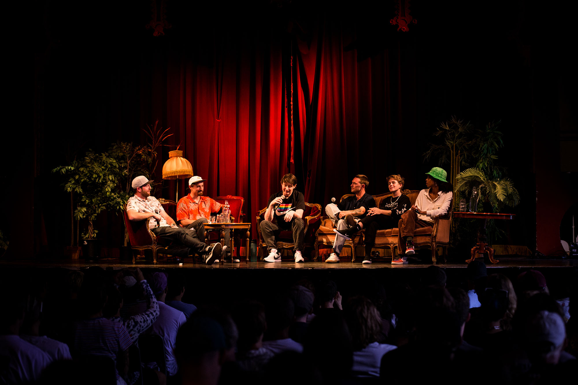 The Prejudice and Allyship Panel. From left to right: Sam McGuire & Tobias Coughlin-Bogue(Skateism), Mark Nickels(film maker), Yann Horowitz(pro skateboarder), Lacey Baker(pro skateboarder), Brea