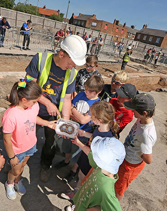 A public open day organised by York Archaeological Trust at a recent excavation in Northallerton, North Yorkshire.