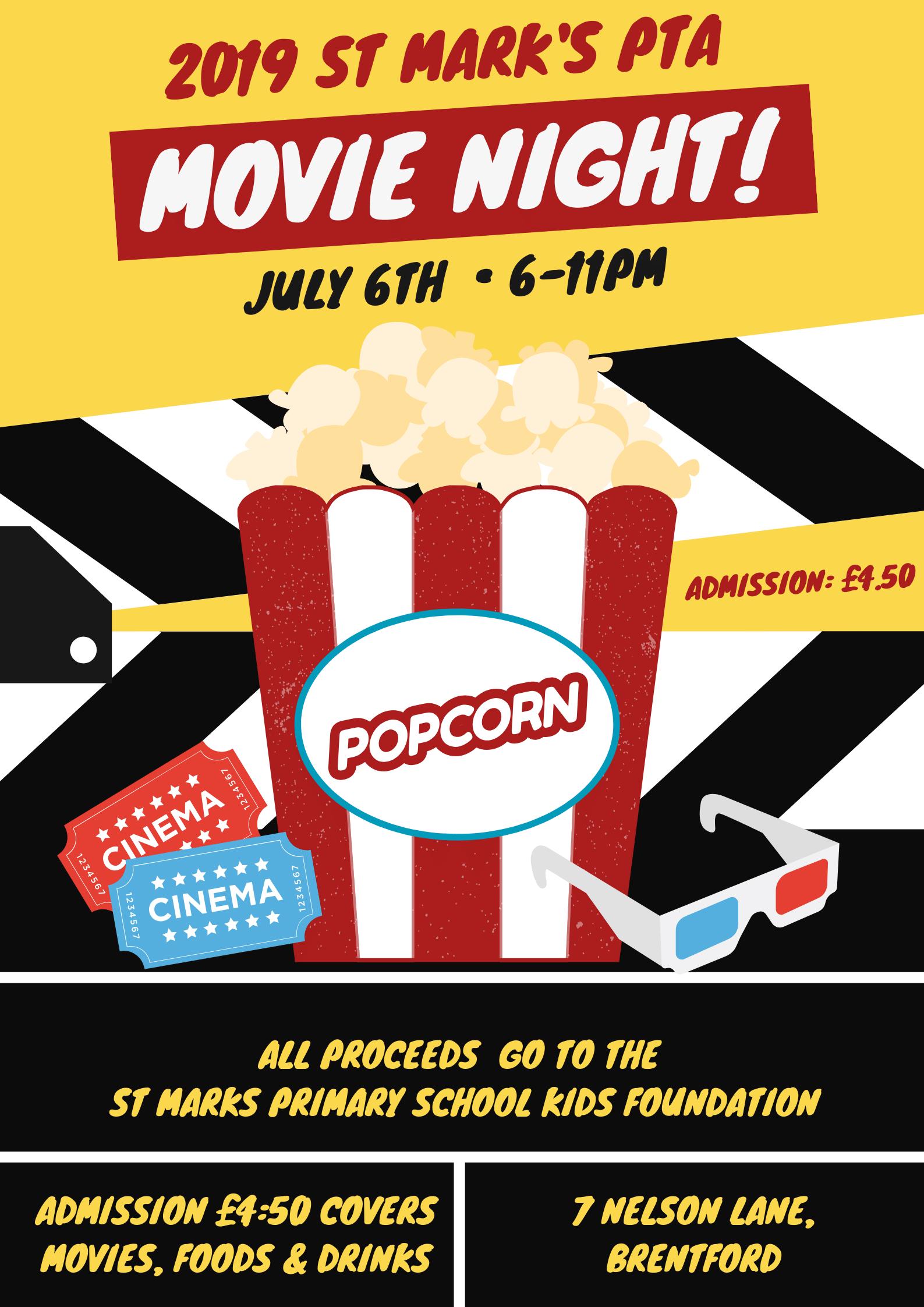 PTA Movie Fundraiser Poster