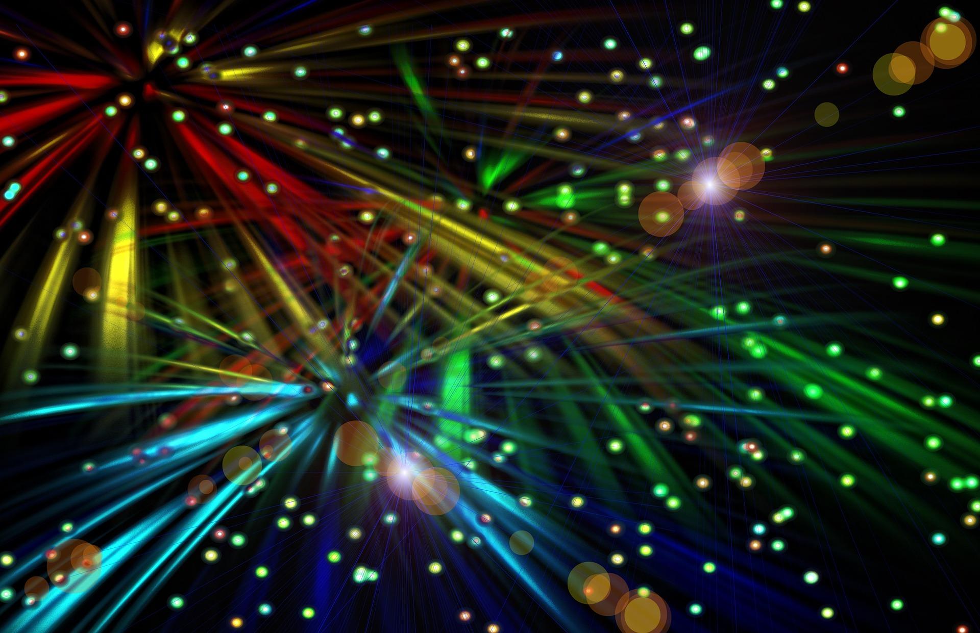 Rainbow colours light up the sky