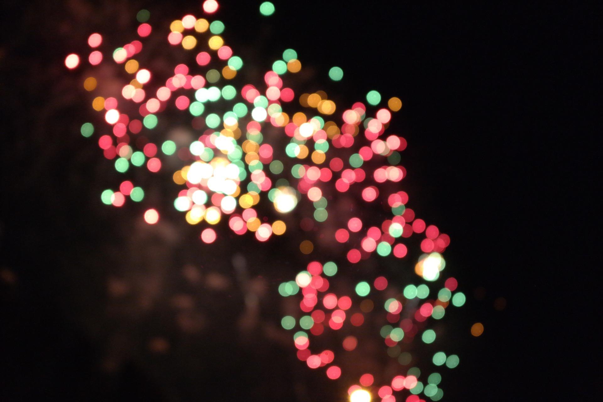 A blurred fireworks scene.