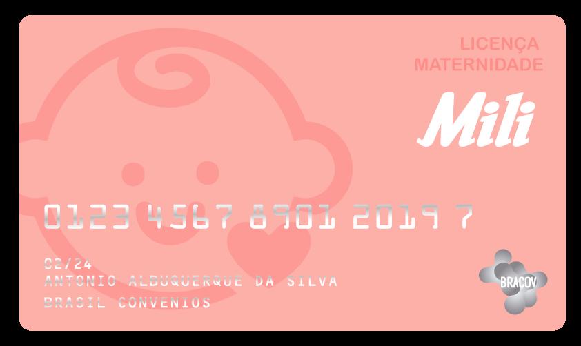 Cartão Licença Maternidade  pré pago pela Bracov e oferecido pela Mili a gestantes (ou pai) no período de licença maternidade.  Este cartão é de uso exclusivo de clientes associados ao Clube Bracov.