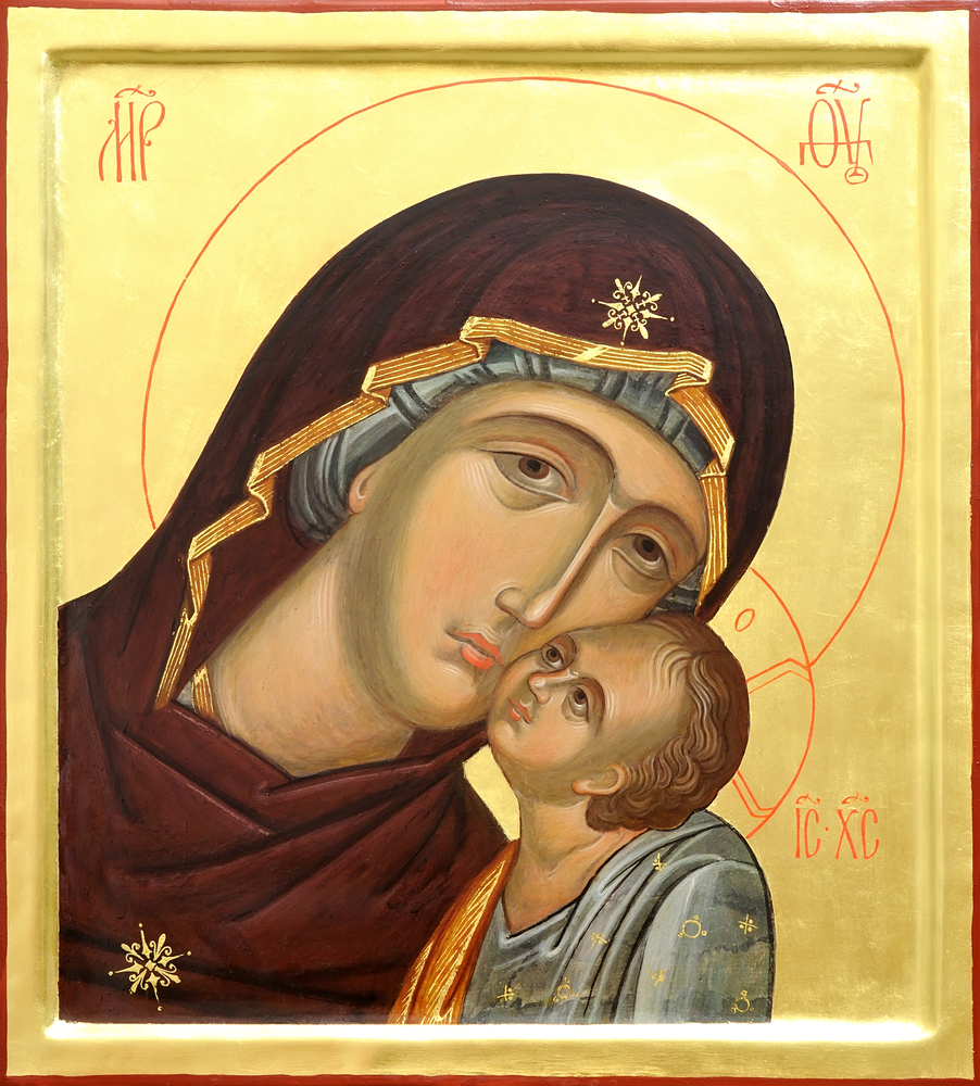 """THIS IMAGE IS CALLED A """"LOVINGKINDNESS"""" ICON. It represents the loving relationship Jesus has with his mother, and also the love God has for us, his redeemed Church. It is designed to help you contemplate the deep affection God has for you. As you end the day, know that nothing can separate you from the Love of God in Christ Jesus our Lord."""