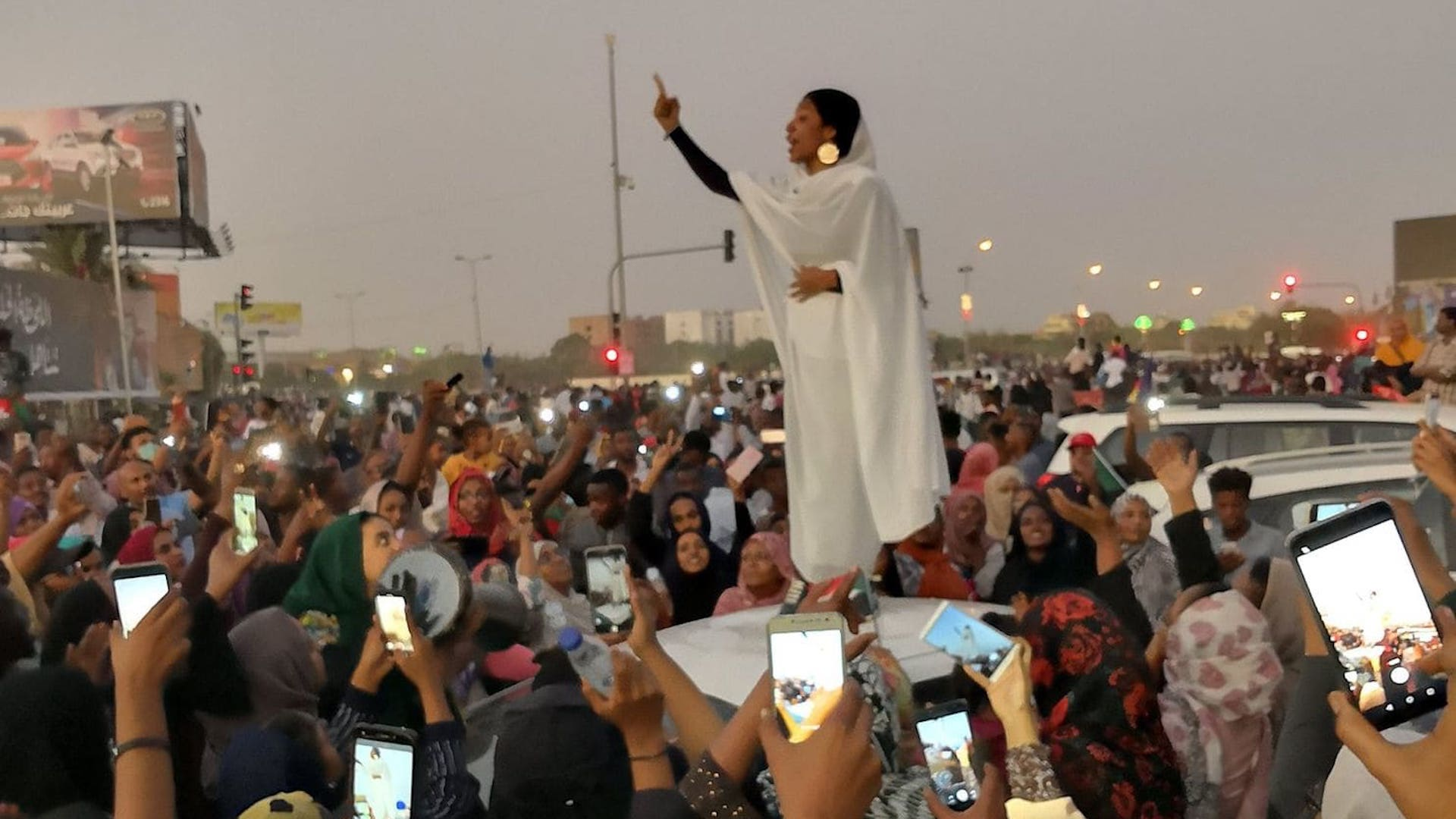 Images of 22-year-old Alaa Salah at an April 8 protest in Khartoum, Sudan, were shared widely on Sudanese social media.  Taken by Lana Haroun