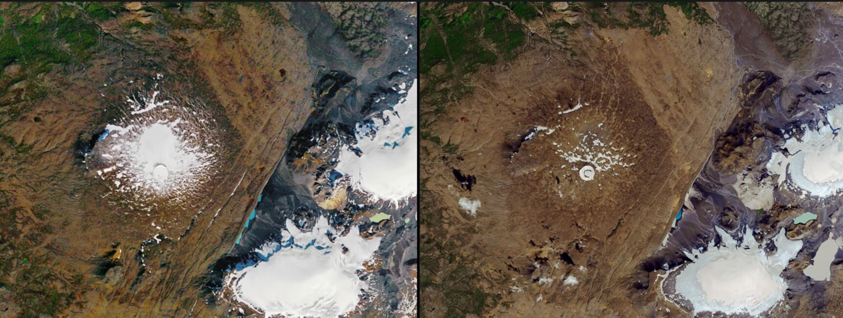 Iceland's Ok Glacier Melts Away via  Nasa  Images of Change.