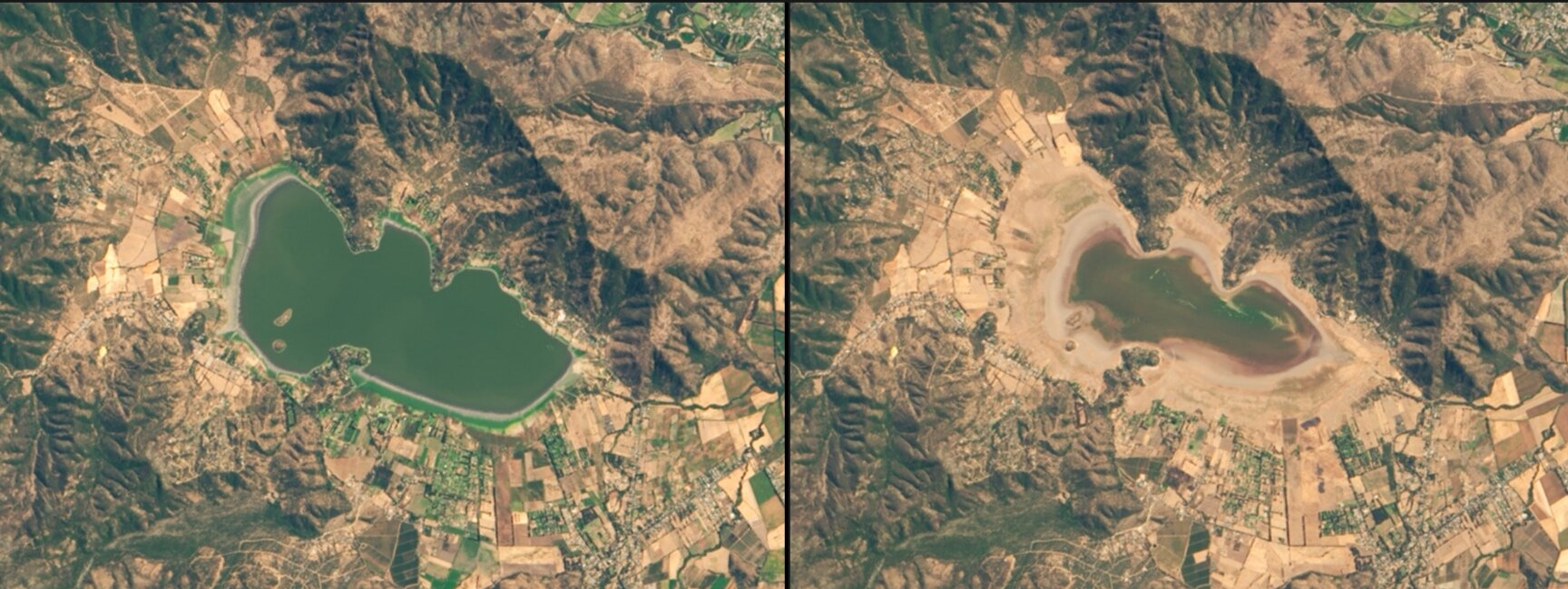 Chile's Lake Aculeo Dries Up via  Nasa  Images of Change.