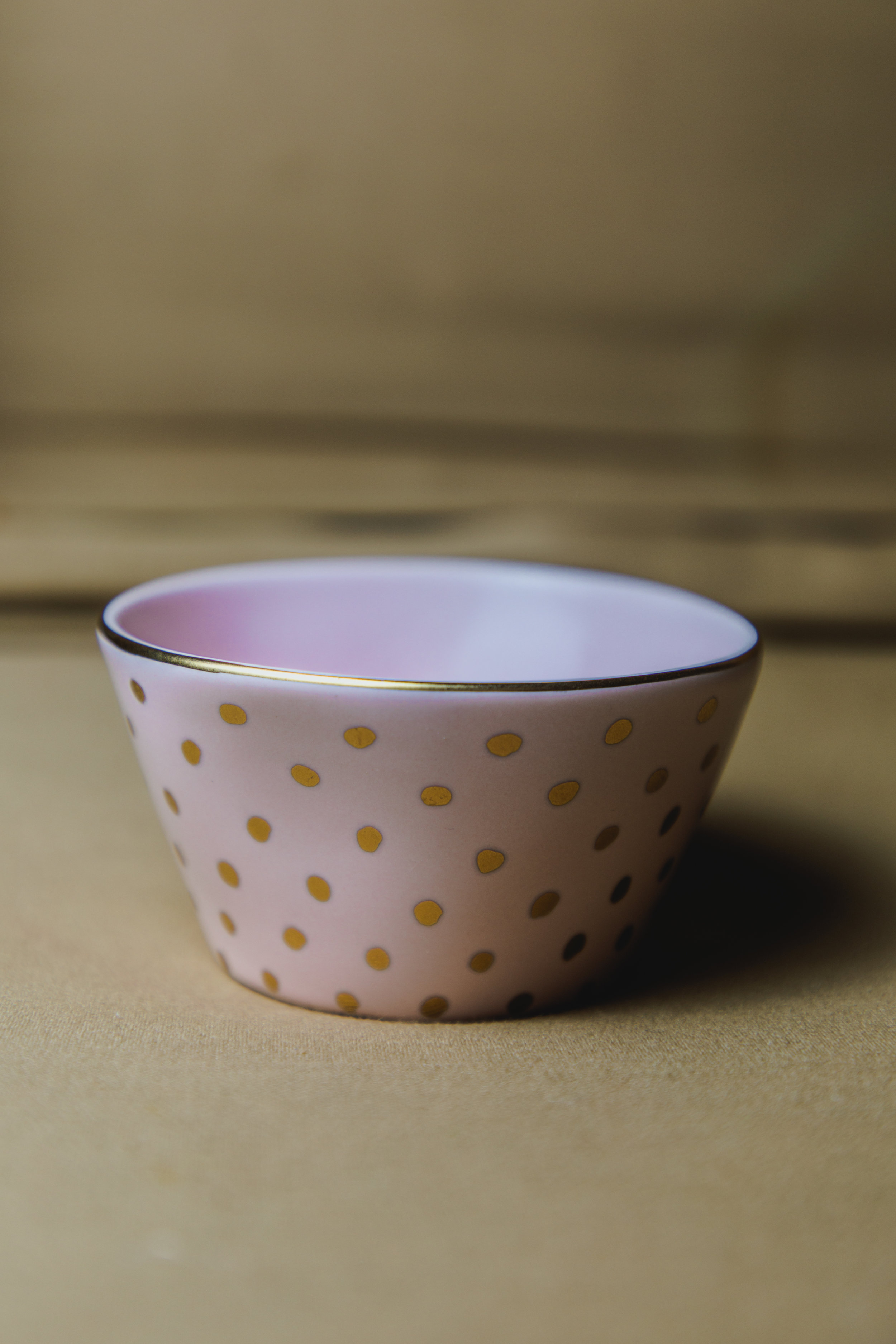 $10 | Pink and Gold Dotted Deep Ring Dish