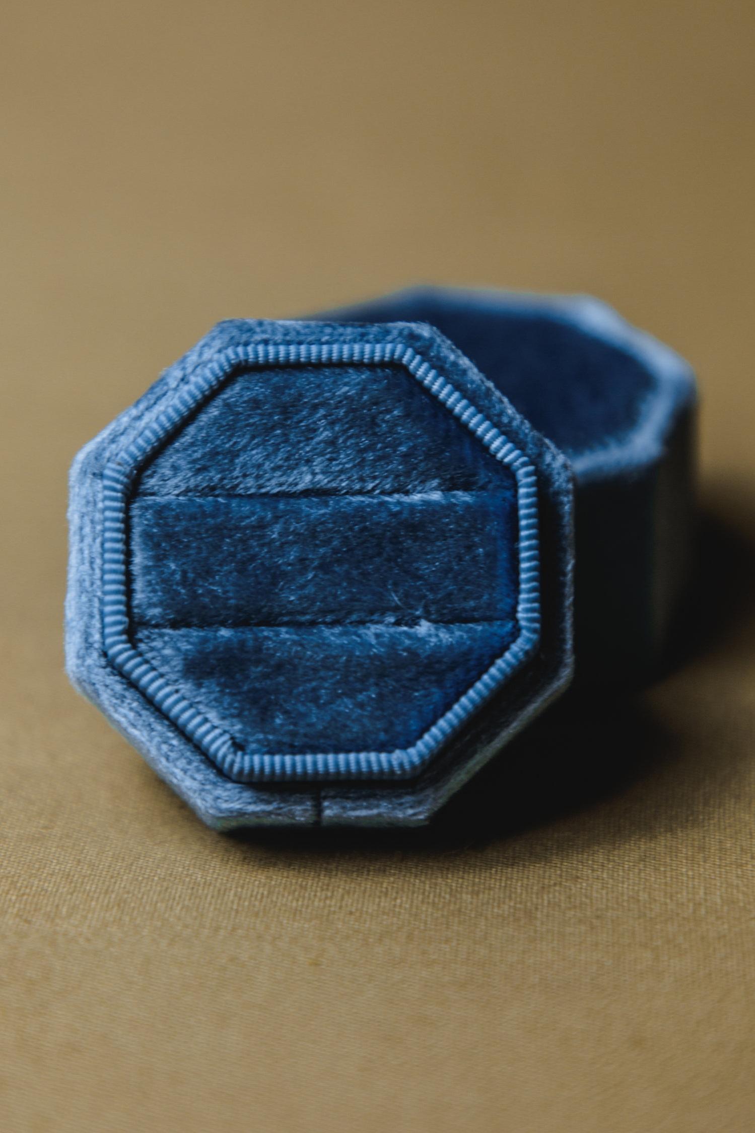 $20 | Slate Blue Velvet Octagon Ring Box
