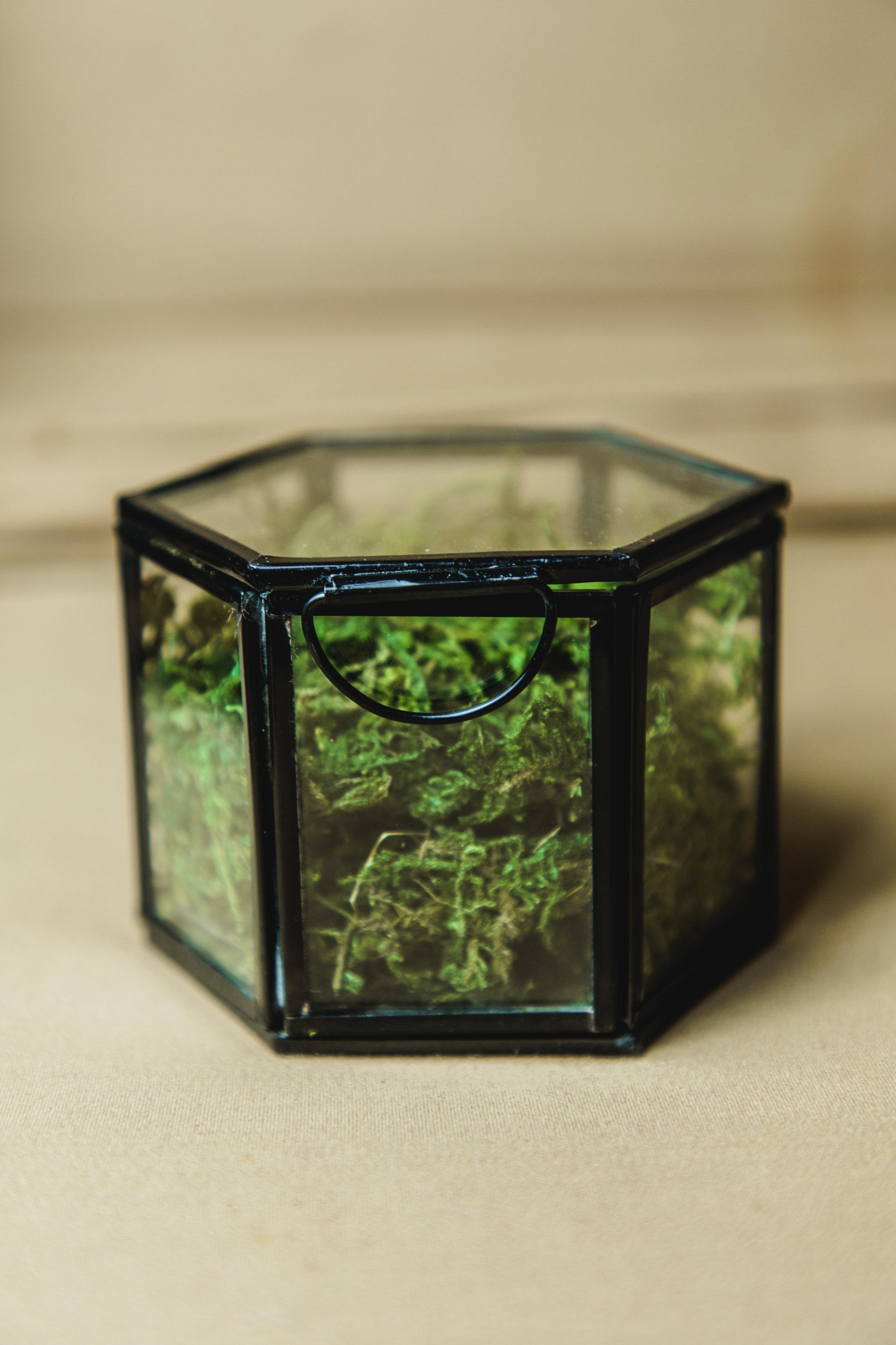 $10 | Black + Glass Hexagon Box