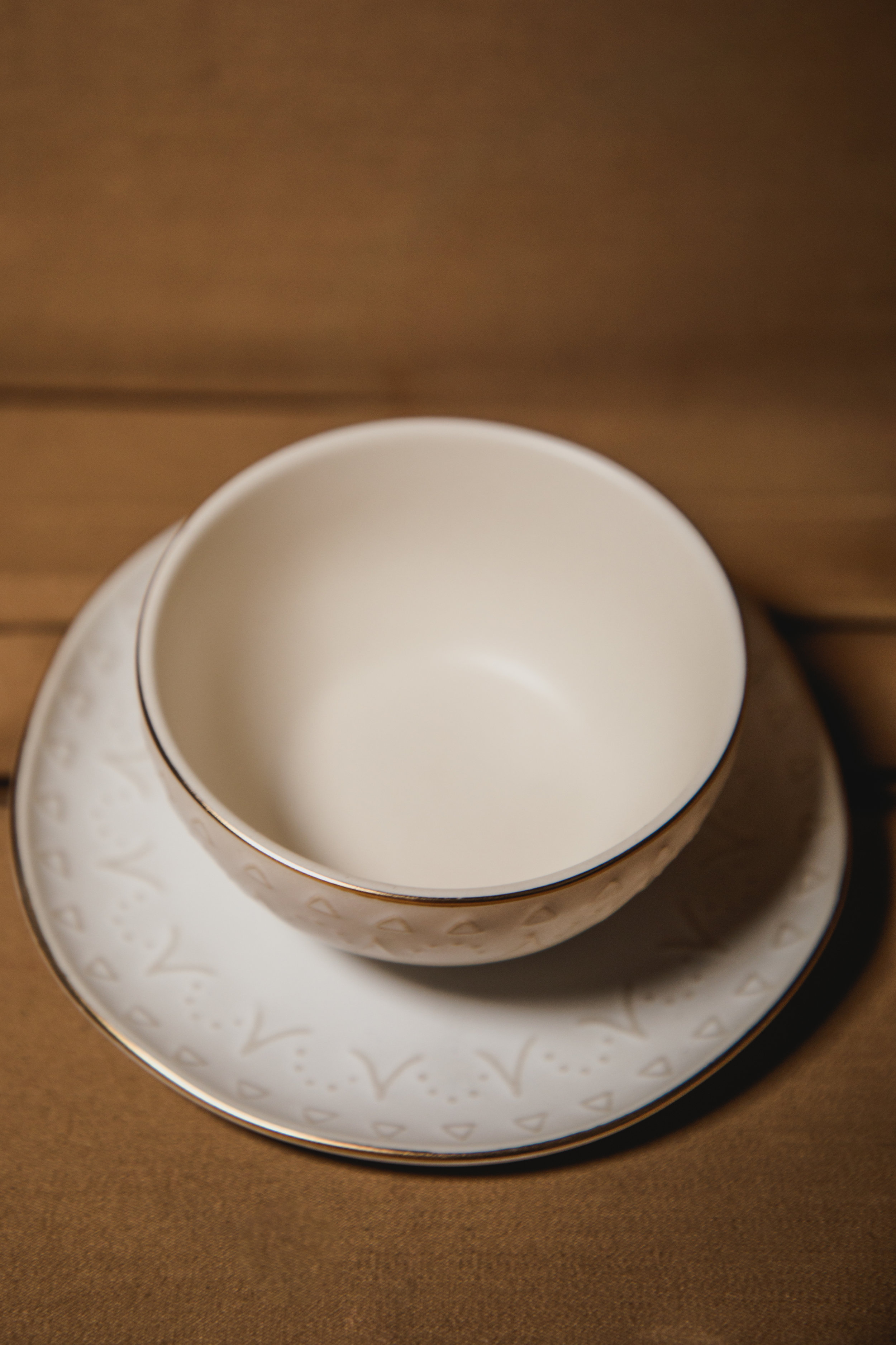 $10 | Ivory Patterned Ring Dish and Plate