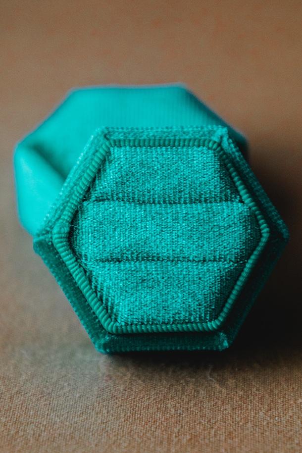 $20 | Emerald Velvet Hexagon Ring Box