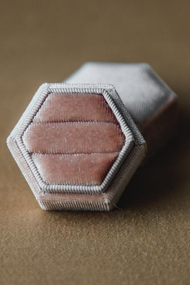 $20 | Champagne Velvet Hexagon Ring Box