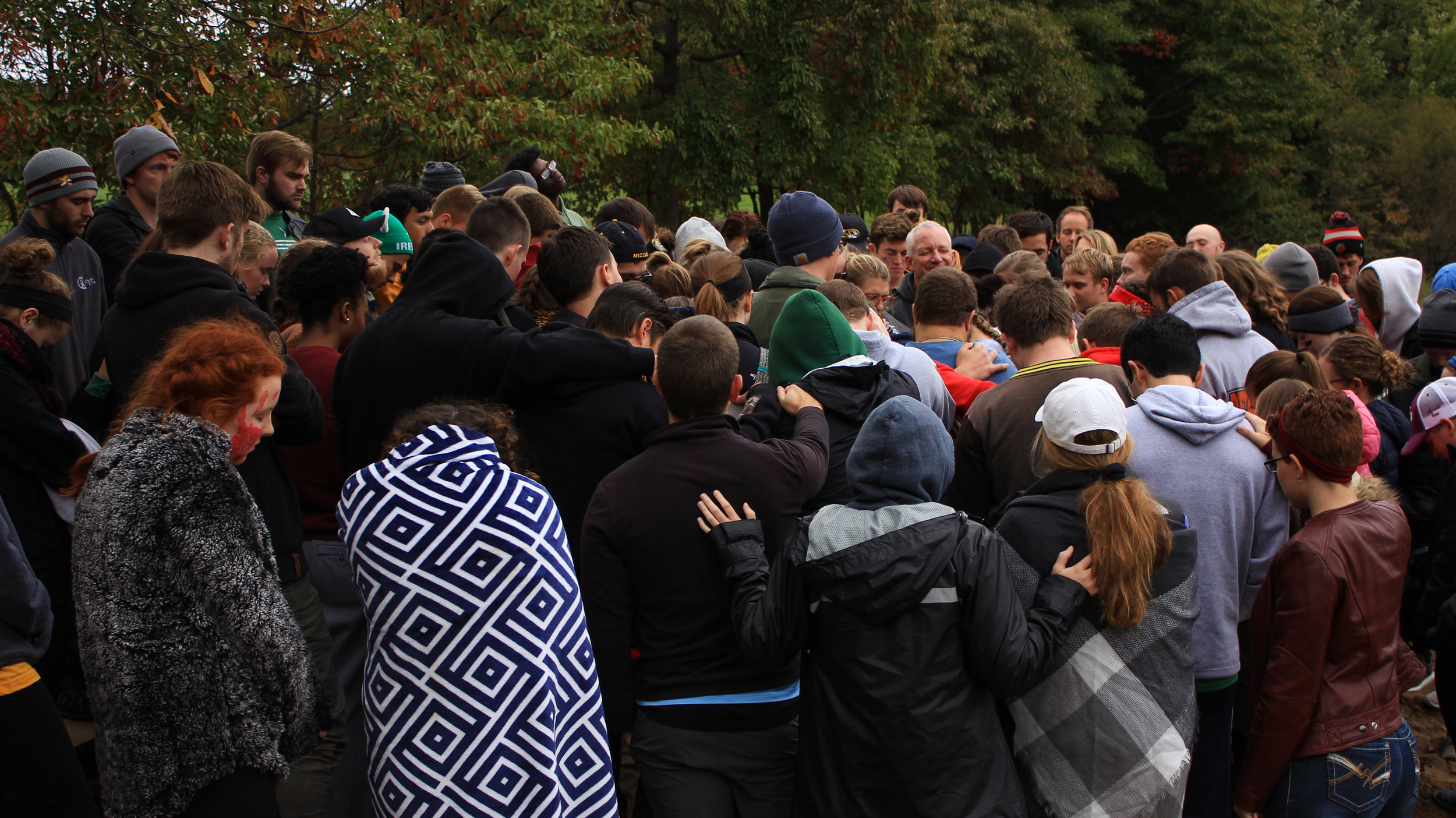 Our students praying at our annual Fall Retreat