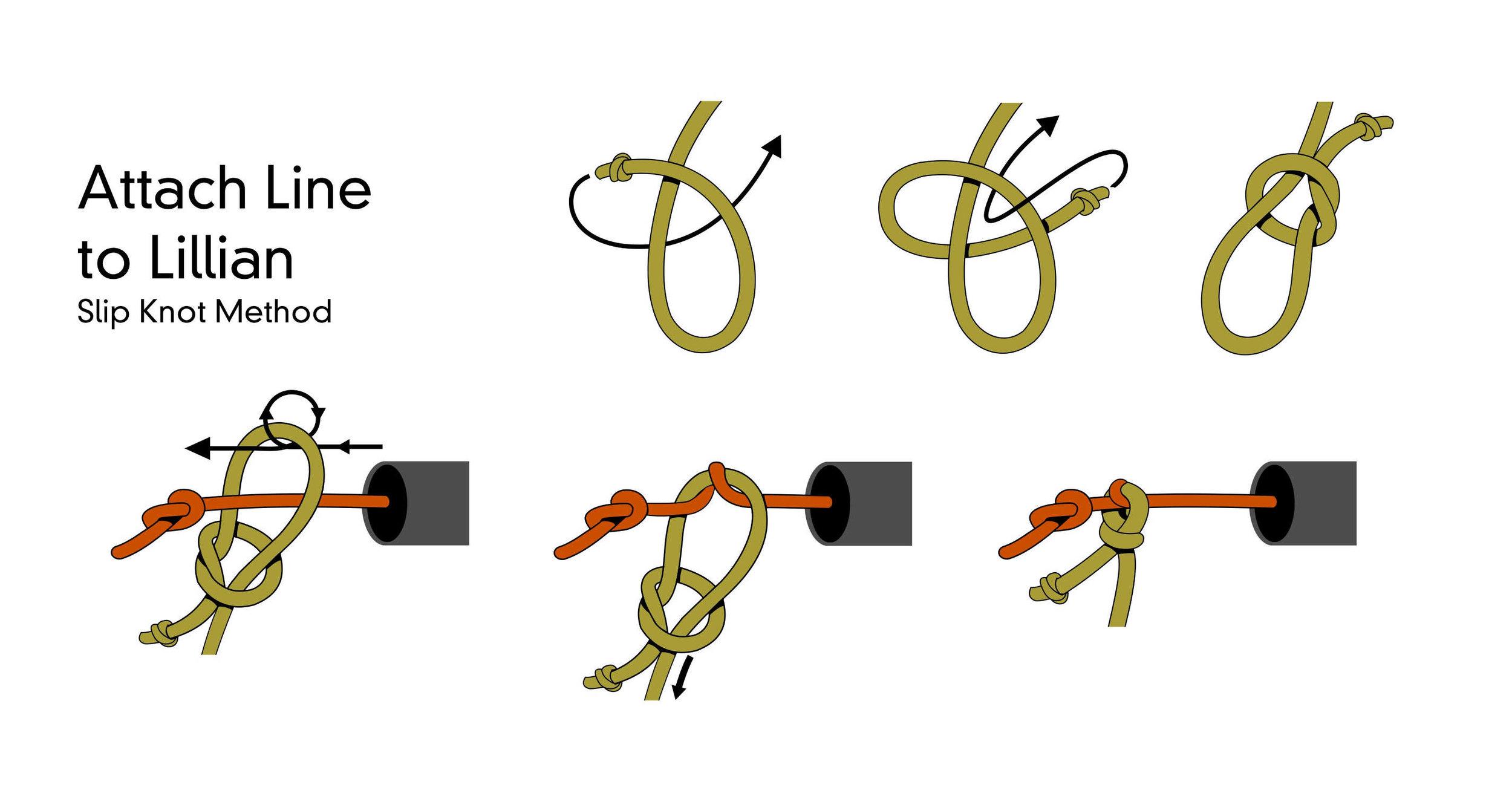 Keiryu Rod Co. Line to Lillian Using Slip Knot Illustration