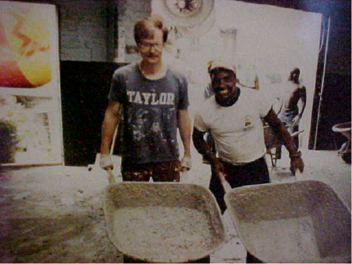 Art Jones and Anthony digging out the gym.