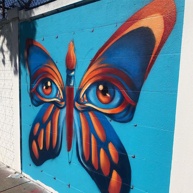 Progress shot of my surreal butterfly mural @urban.art.museum on Peabody Street in Salem! 8' x 8' spraypaint on wall. Finishing up today, What an amazing experience meeting and working alongside so many amazing local artists! 🦋🦋🦋 . #muralist #muralpainter #urbanartwork #bostonartists #bostonartist #spraypaintartist #spraypaintartwork #spraypainter #spraypainting #flourishartistic