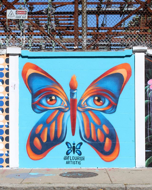 COMPLETED Butterfly Mural for @urban.art.museum 🦋🌀👁. This is my favorite mural I've done to date! Honored to have worked along SO many great artists throughout this past week. Come through to the Fiesta en La Calle in Salem today from 2-6 to check out all of the amazing work! 💙 . #muralist #muralpainting #muralartist #muralarts #streetartglobe #streetartoftheday #spraypaintartwork #spraypaintartist #spraypainter #urbanartwork #bostonartist #bostonarts #bostonmurals #mtn94 #flourishartistic