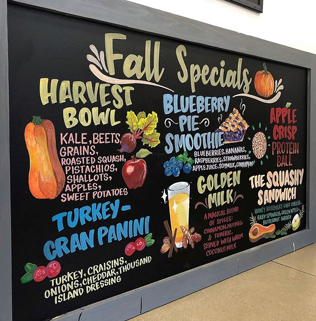 SWIPE for a straight-on shot of this fall-themed Chalkboard for @solbean_ .🍁🍂🍁 I really enjoyed creating this. If your business is in need of professional chalkboard service, please DM or email me at hailey@flourishartistic.com! . #muralist #chalkboardartist #chalkboardart #chalkartist #chalklettering #chalkillustration #illustratorsofig #poscamarkers #poscaart #artstudiolife #artstudios #bostonart #bostonartist