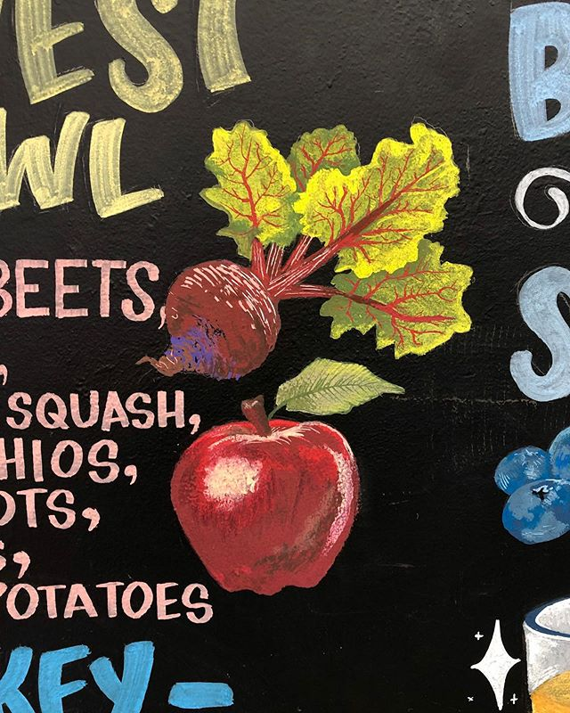 Close-ups of my favorite illustrations from the latest chalkboard! I am especially fond of the beet and the tumeric root 🍎🥑🥭🥥 . #muralist #chalkboardart #chalkboardsigns #signartist #poscamarkers #woodcraftmarkers #chalkillustration #poscaart #poscamarkers #chalkartist #bostonart #bostonartists #bostonartist #flourishartistic