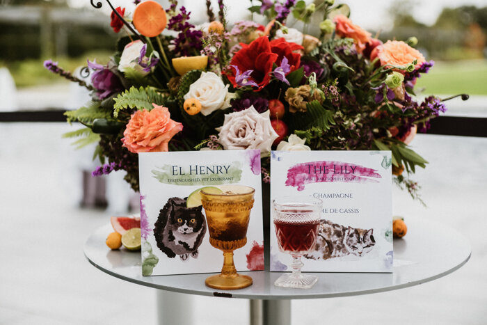 Cocktails named after the couple's fur babies lend a personal touch