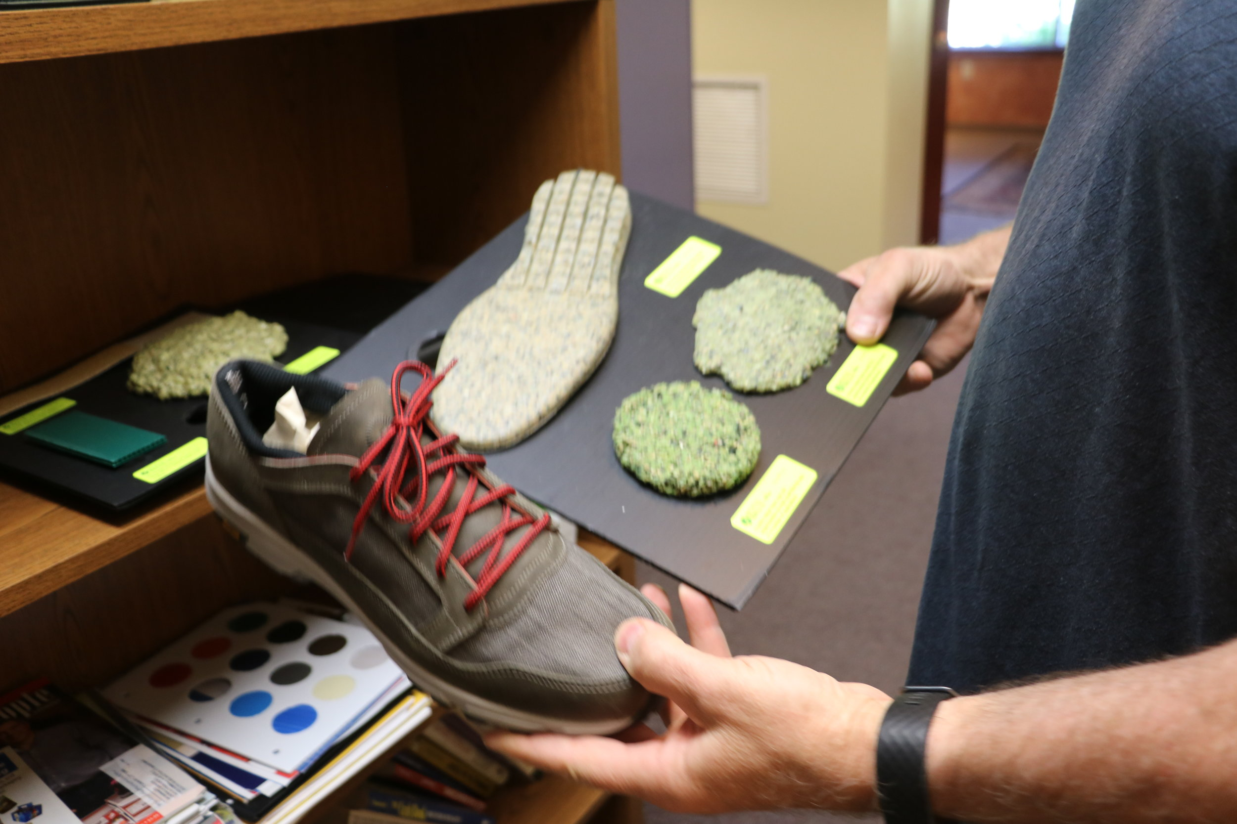 Material from deconstructed tennis balls is being used in prototype shoes and other products.