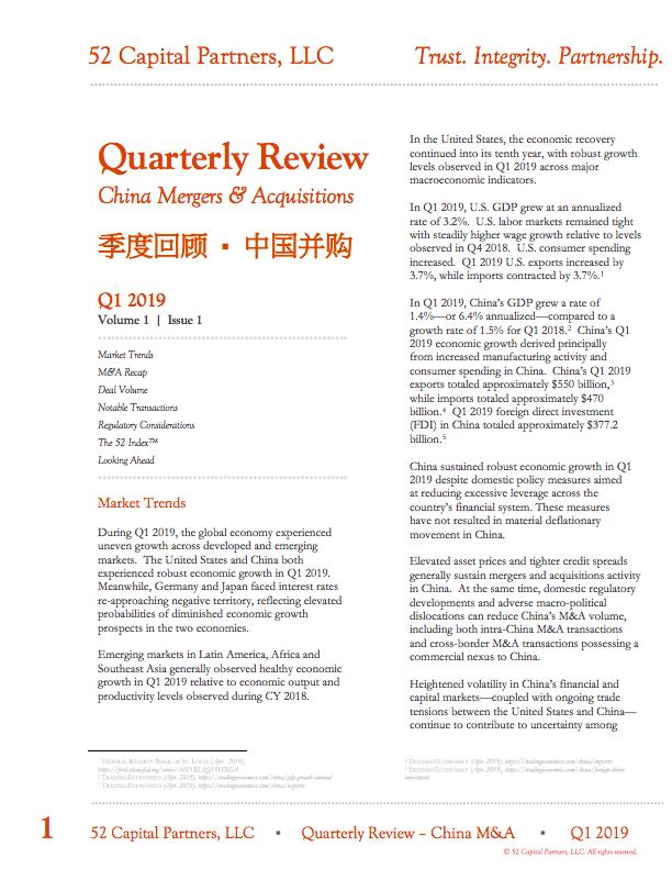 Q1 2019 China M&A Quarterly Review