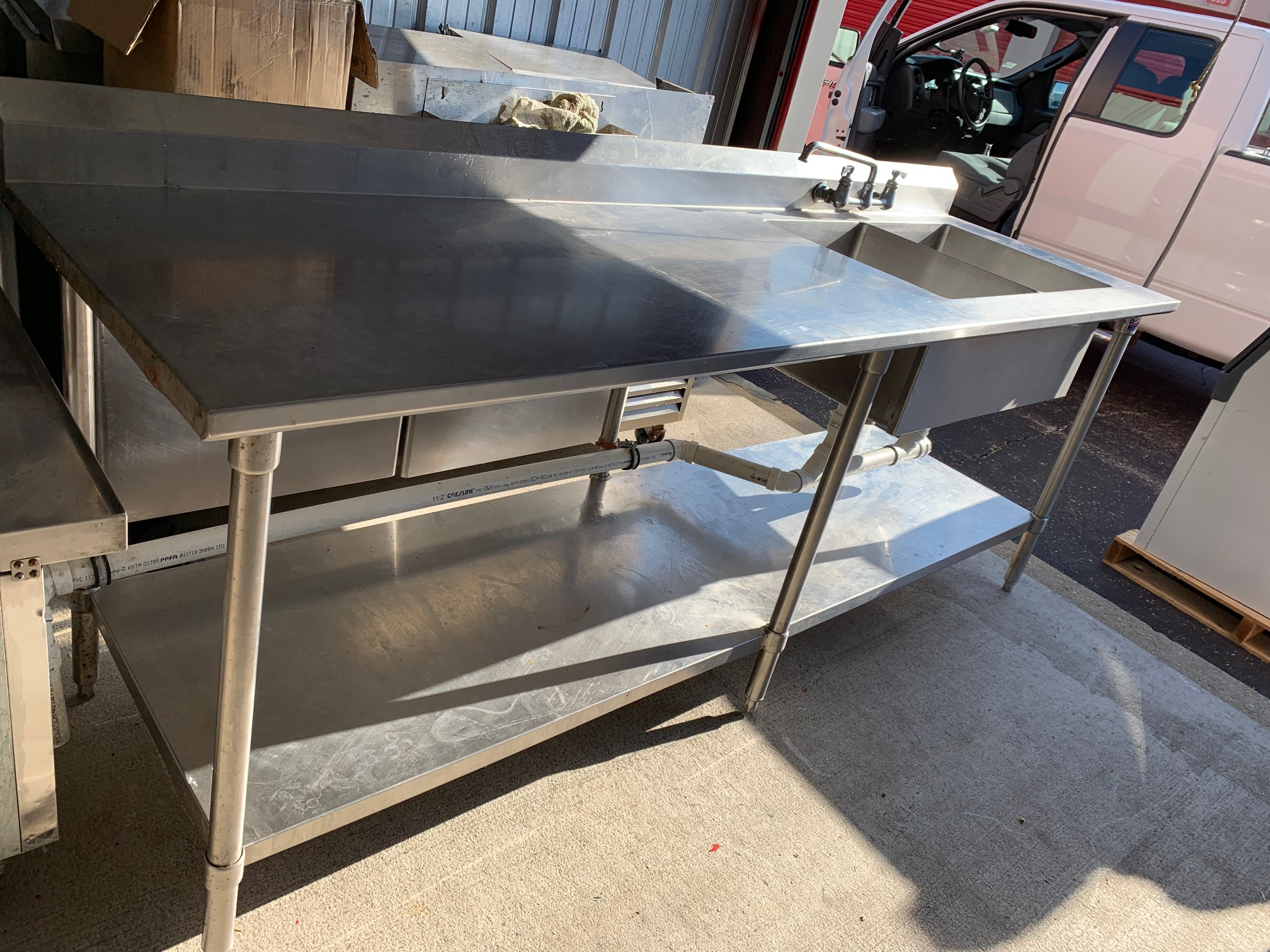 8' S/S Work table with Double Built -In Vegetable Prep Sink