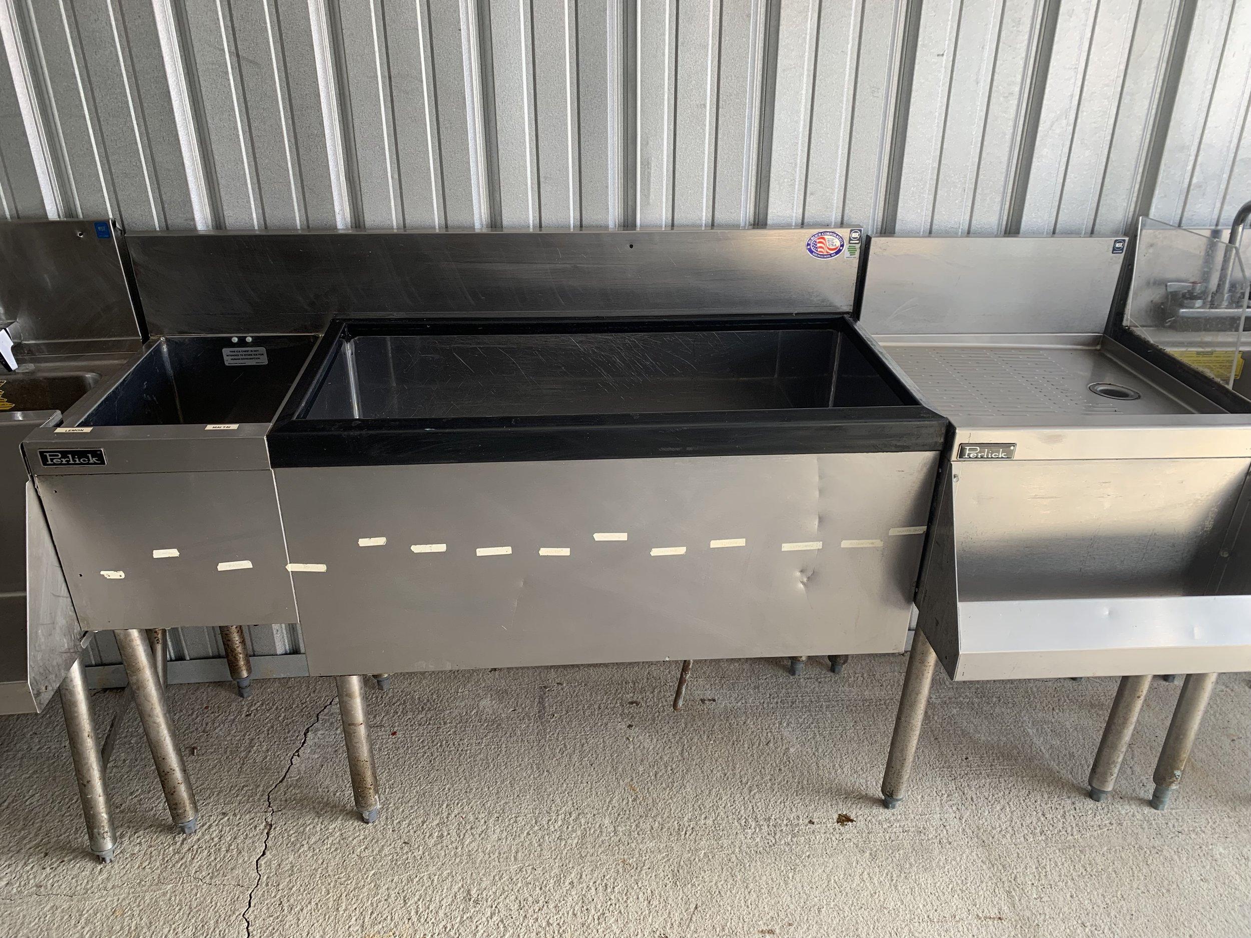 """Perlick 12"""" Dump Sink, Perlick 36"""" Ice Bin with Built-in Coldplate, Perlick 18"""" drainboard"""