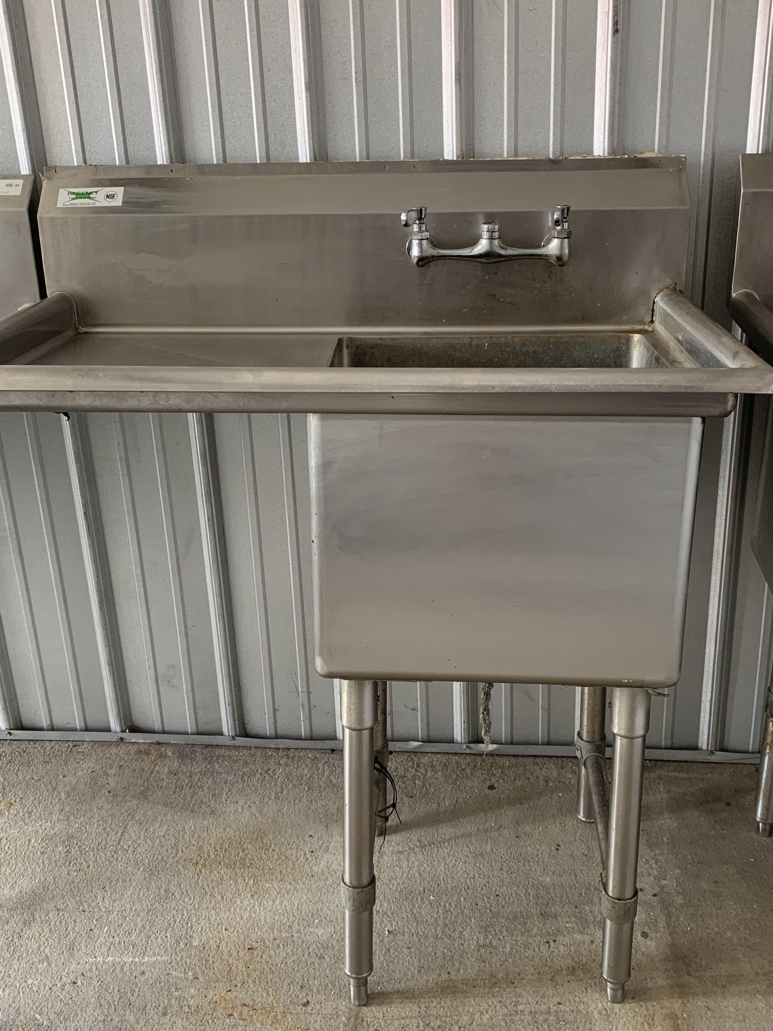 """John Boos 37"""" 1 Vegetable Prep Sink with 18"""" Drainboard"""