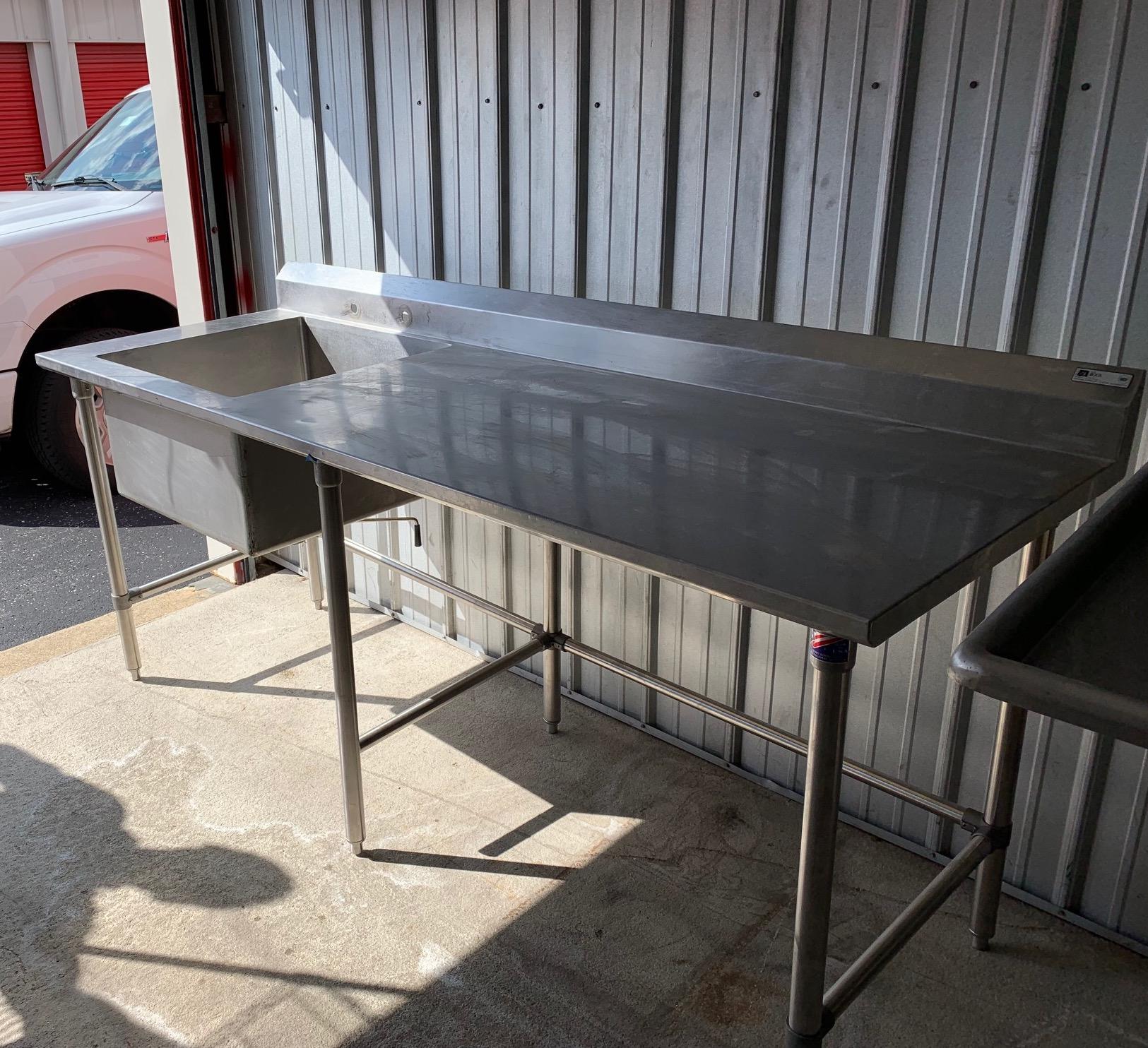 "30""x 84"" SS Work table w/ Prep Sink"
