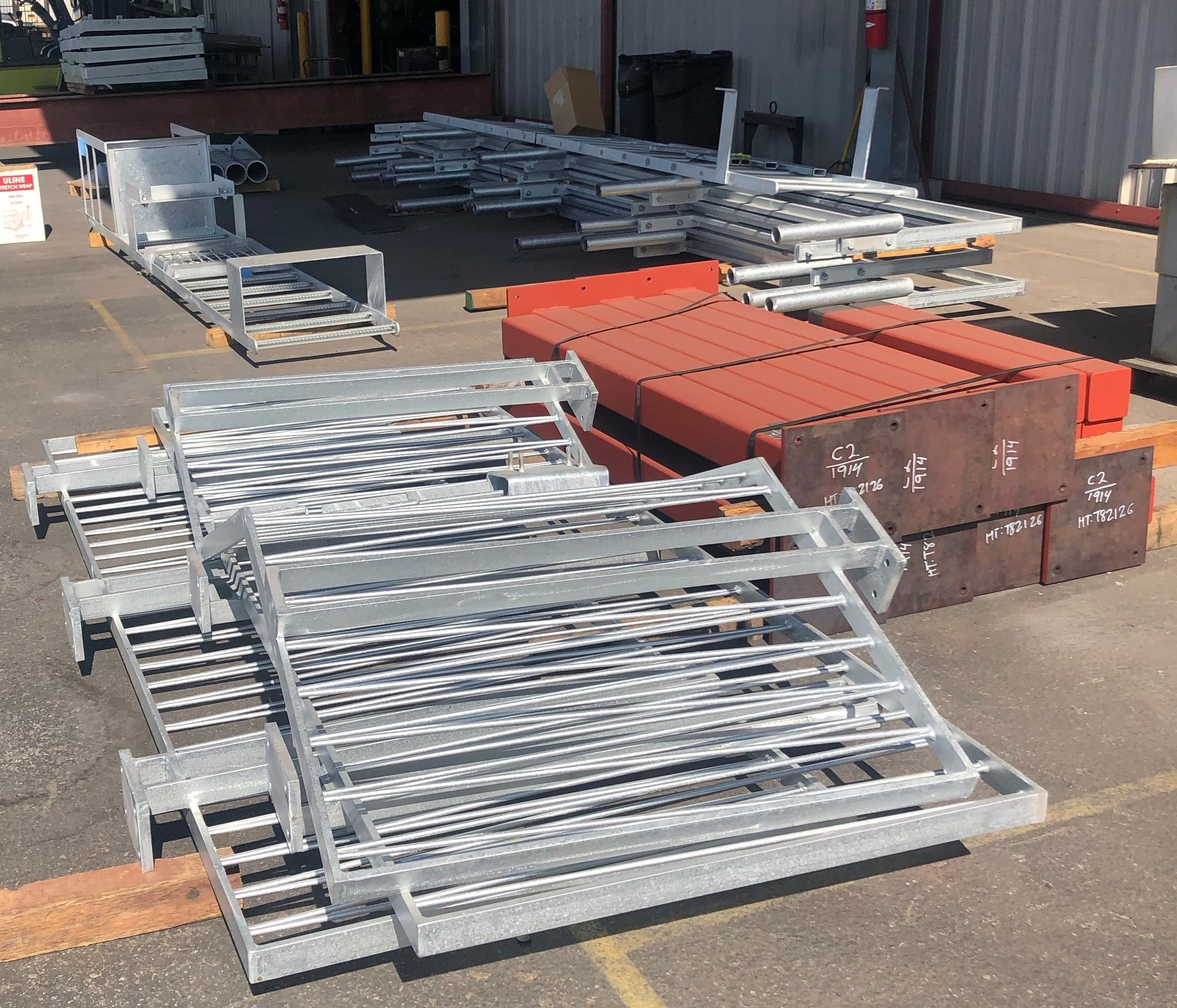 Galvanized and shop prime material ready for delivery.